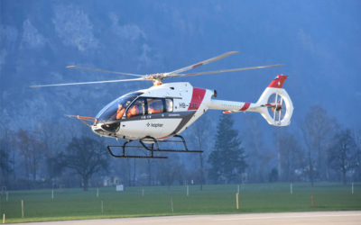 Kopter exhibits SH09 passenger transport configuration at Heli-Expo