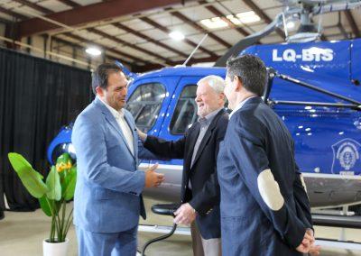 Delivery ceremonywhere Metro Aviation presents refurbishedAS350 B3 aircraft